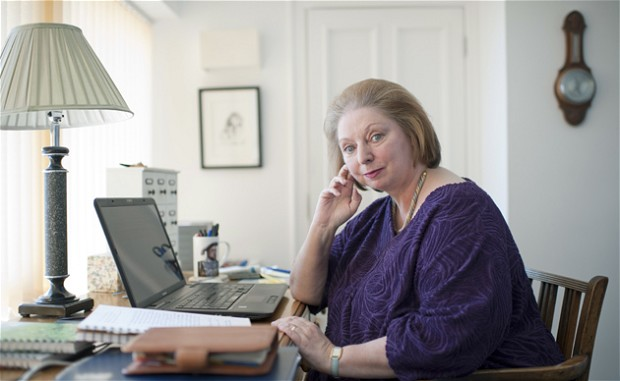 Author Hilary Mantel in her study at her South Devon Home. 27th April 2012 Budleigh Salterton